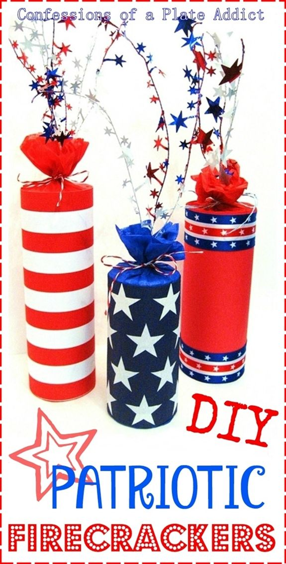 DIY Patriotic Firecracker Decor by CONFESSIONS OF A PLATE ADDICT #4ThOfJuly, #HomeDecor, #Patriotic, #Summer