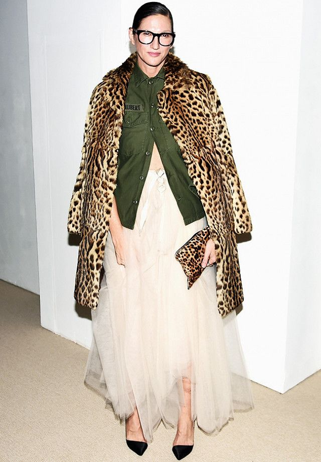 Jenna Lyons proves that it is completely acceptable to wear a tutu this party season. Throw a leopard print coat over your shoulders and you're good to go.