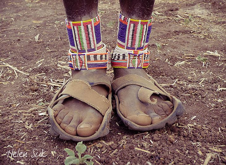 In Kenya, old tires don't go to waste - they're worn on the feet.