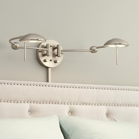 Above Fireplace - hardwired in!!!! Brushed Steel Double Plug-In Headboard Swing Arm Wall Lamp