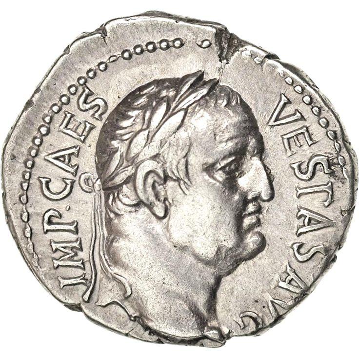 Vespasien (69-79), Denier, Éphèse, Avers: tête laurée de Vespasien à droite, Revers: AVG au centre d'une couronne de chêne