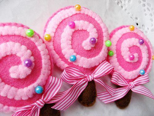 Lollipops de fieltro rosa