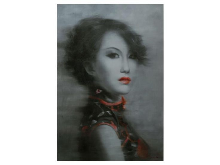 Geisha Giclee Painting  A stunning monochromatic portrait is highlighted by pops of bright red. This piece is sure to be striking in any space.