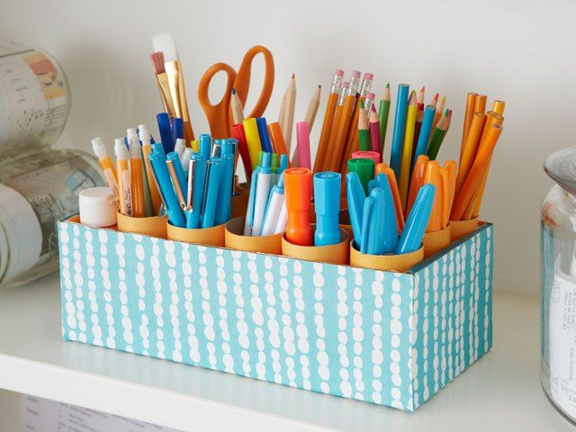 Genius organization idea: DIY Shoe Box Desk Caddy. Seriously, I am doing this with the next box I find!
