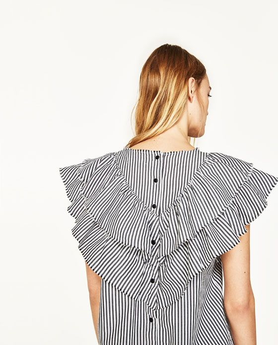 STRIPED POPLIN BLOUSE WITH FRILL