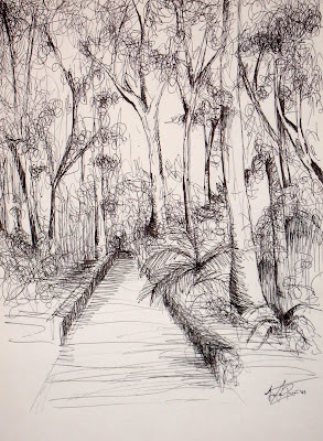 """Walking in the garden""  Ink on paper (Javier Pavón, 2008)"