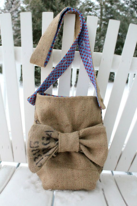 burlap purse with bow adjustable strap coffee bag by SylvieLiv, $55.99