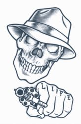 TAT275** Temporary Tattoo - Gangster Tattoo - Stick Up Skull ...
