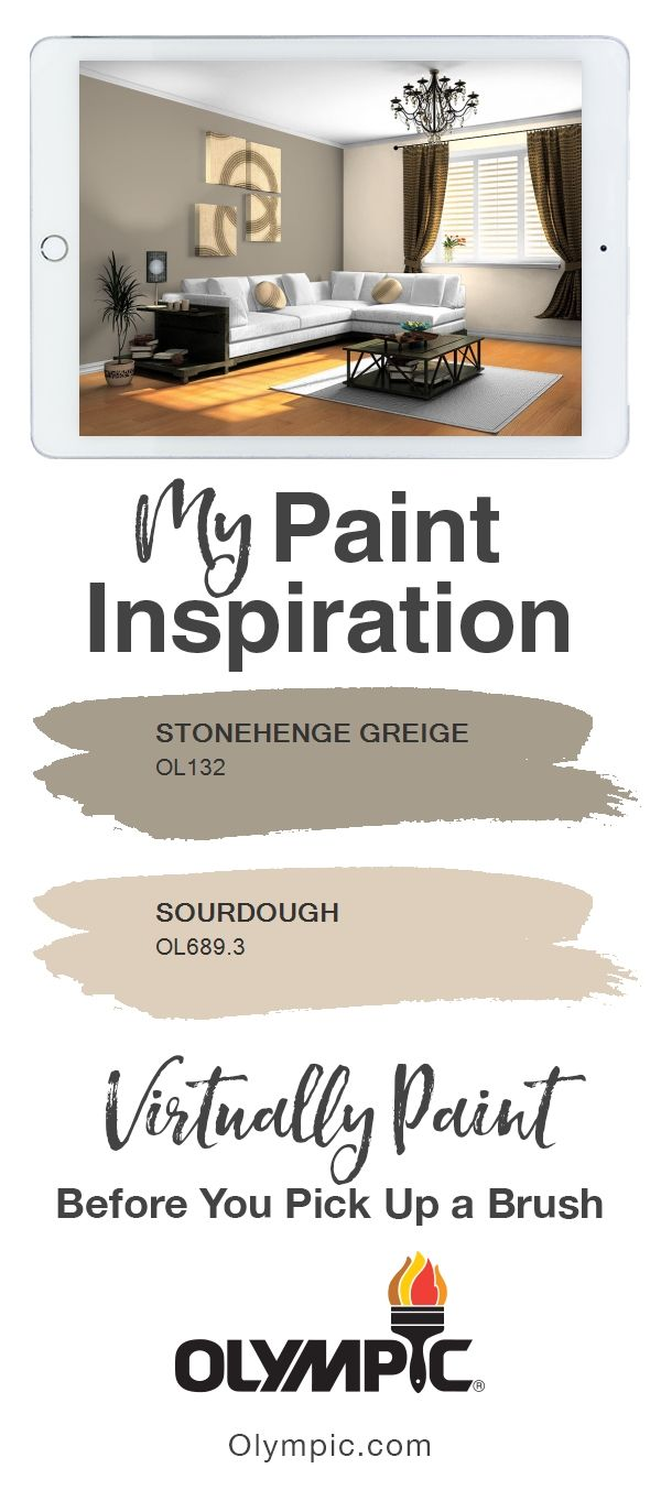 Lr Entry I Chose Stonehenge Greige From Olympic Paints Stylish Comfortable Interiors Collection For The Accent Walls And Sourdough Rest