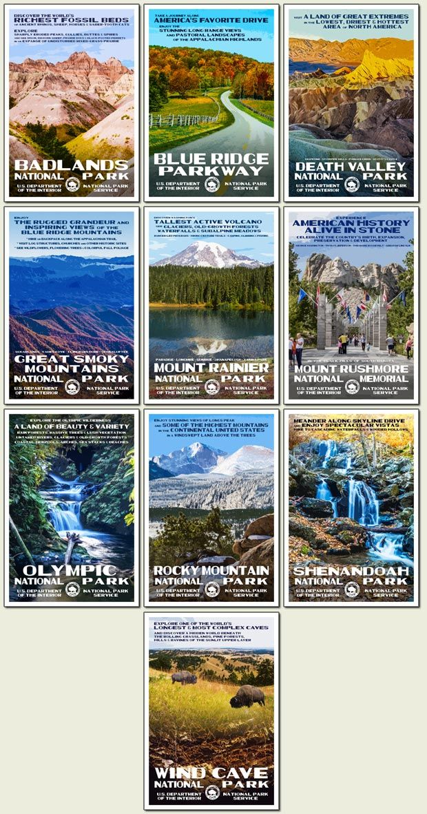 """Title: """"The 2016 Centennial Collection""""  Featuring: Badlands, Death Valley, Great Smoky Mountains, Mount Rainier, Olympic, Rocky Mountain (Longs Peak), Shenandoah, Wind Cave National Parks, Blue Ridge Parkway, Mount Rushmore National Memorial.  Artist: Robert B. Decker  Size: 13"""" x 19""""  Paper: """"Conservation"""" 100% recycled, domestically produced.  Inks: Soy based.  Original, Limited Edition Prints are Signed, Dated & Numbered.  The Artist's signature on these prints attests that he has…"""