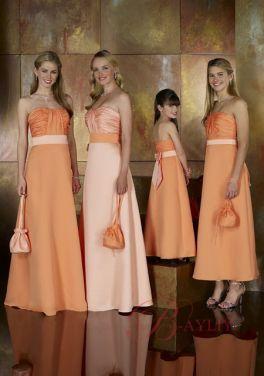 À volants en satin bretelles robe de demoiselle d'honneur junior A-ligne de Sash Design WPD03057