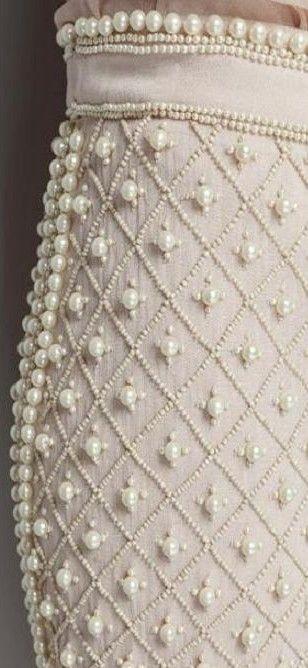 Pearl Encrusted Skirt details