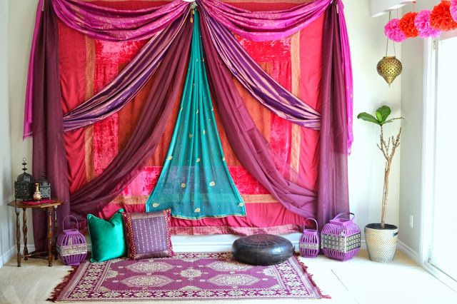 Honey Sweet Home: A Mughal-Themed Bridal Shower! - such a cute mehendi night, and so nicely decorated at home!