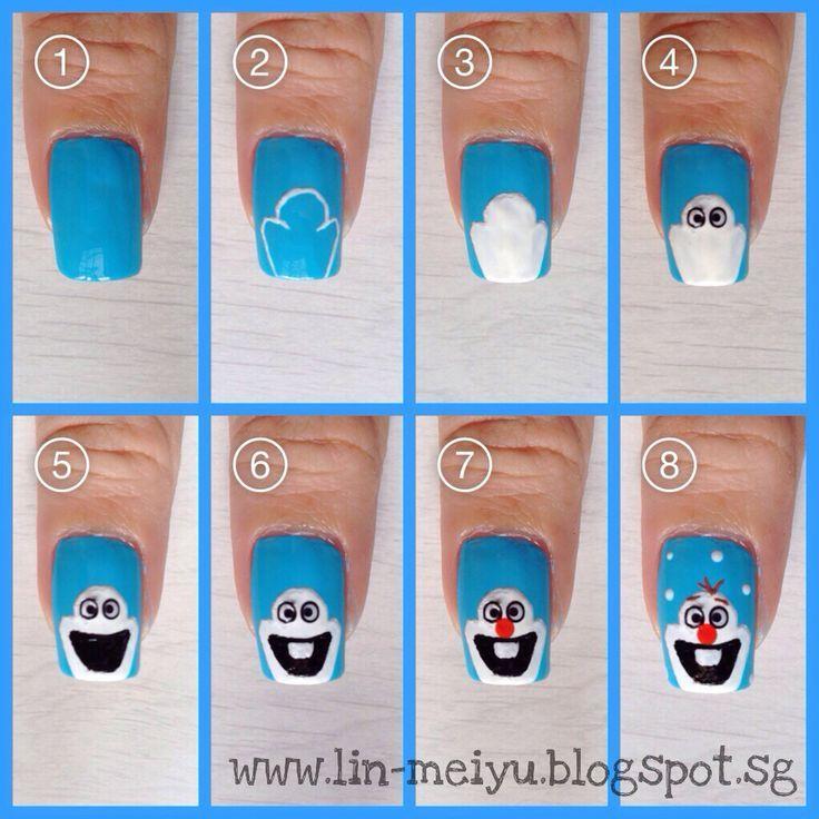 Uñas decoradas con el pequeño Olaf de frozen - http://xn--decorandouas-jhb.com/unas-decoradas-con-el-pequeno-olaf-de-frozen/
