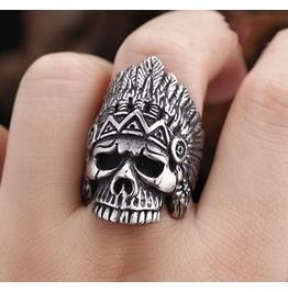 Indian Chief Titanium Stainless Steel Men Ring Skull Ring Punk Ring Steampunk Ring