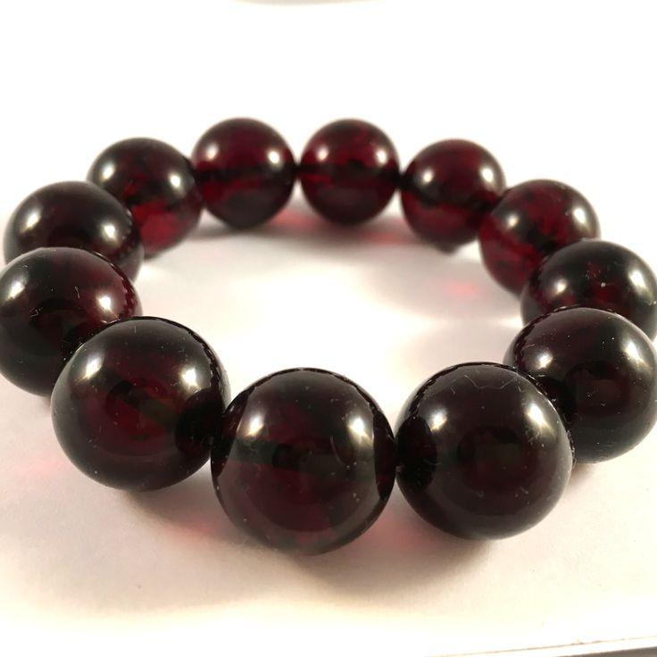 cherry amber bead bracelet