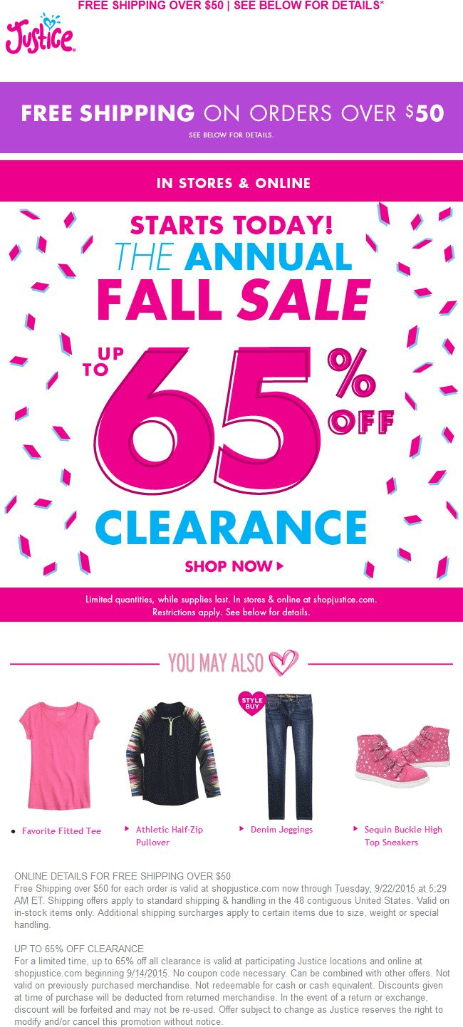 Pinned september 15th 65 off clearance sale going on at justice for girls ditto
