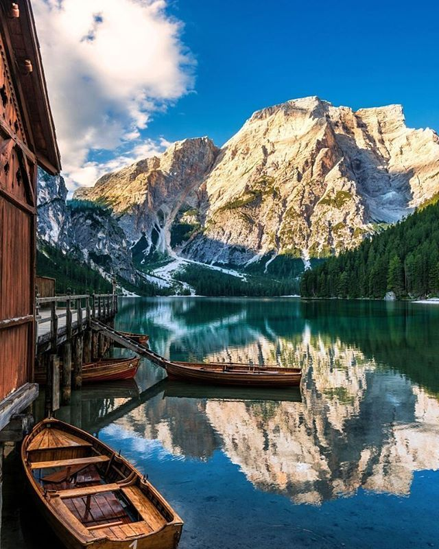 Bucket list alert: Lago di Braies, Italy, is one of the most popular summer vacation destinations, according to @pinterest. For more vacation inspiration, see link in bio!