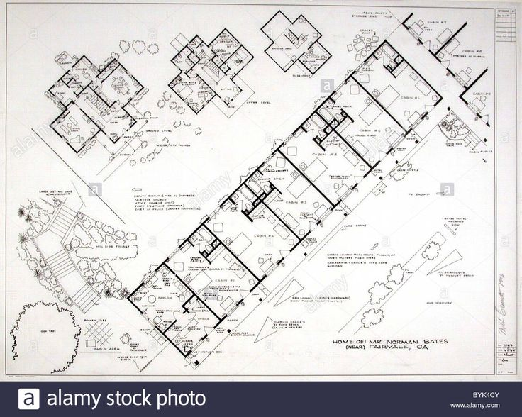 Fantasy Floor plans - Psycho - Bates Motel Ever wanted to build a house just like Luke Skywalker's farm on Tatooine? Or design Stock Photo