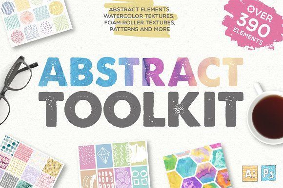Abstract Toolkit [390 elements]  by Julia Dreams on @creativemarket