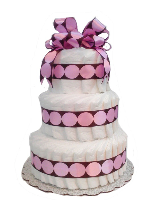 3 Layer Pink and Brown Modern Dot   Baby Shower by rubberduckybaby,: Shower Ideas, Crafts Ideas, Baby Shower Cakes, Gifts Ideas, Baby Shower Diapers, Diaper Cakes, Cakes For Diapers Parties, Diapers Cakes, Brown Diapers