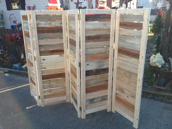 """Handmade Primitive Room Divider / Movable Wall / Screen made from Antique Looking Wood - 5' 10"""" Tall with Five Panels - Beautiful! on Etsy, $275.00"""