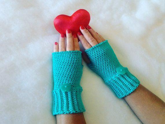 Azzurri guanti senza dita - Blue fingerless gloves - Valentino's day - Gloves handmade -  Gloves and mittens - Made in Italy - Handmade