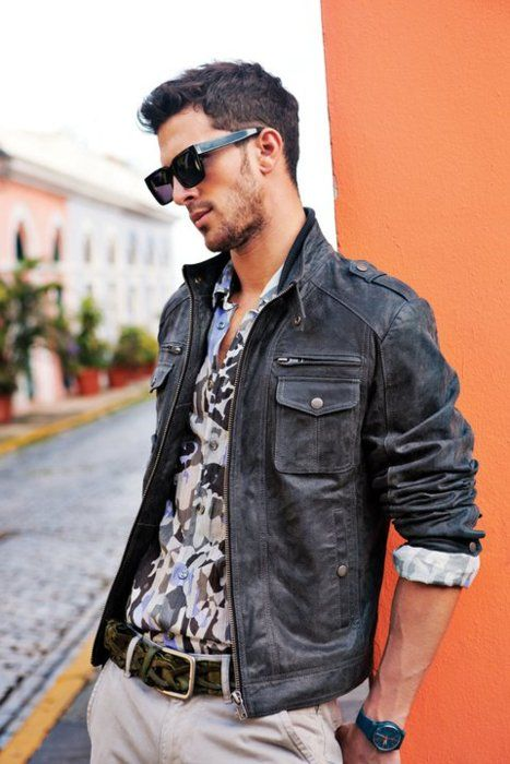 : Men Clothing, Leatherjacket, Nice Jackets, Glasses, Clint Mauro, Men Style, Outfit, Men Fashion, Leather Jackets