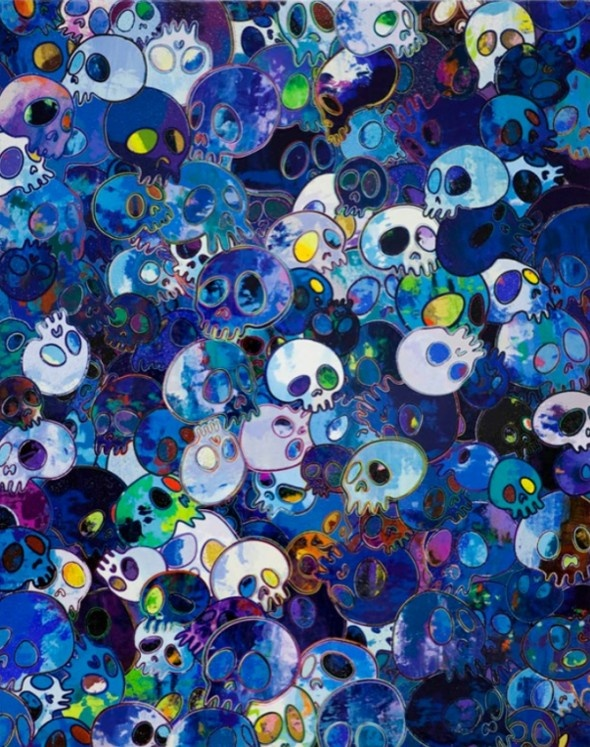 TAKASHI MURAKAMI rend homage à Yves Klein Crânes