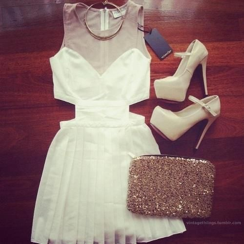 WHITE DRESS CUTOUT