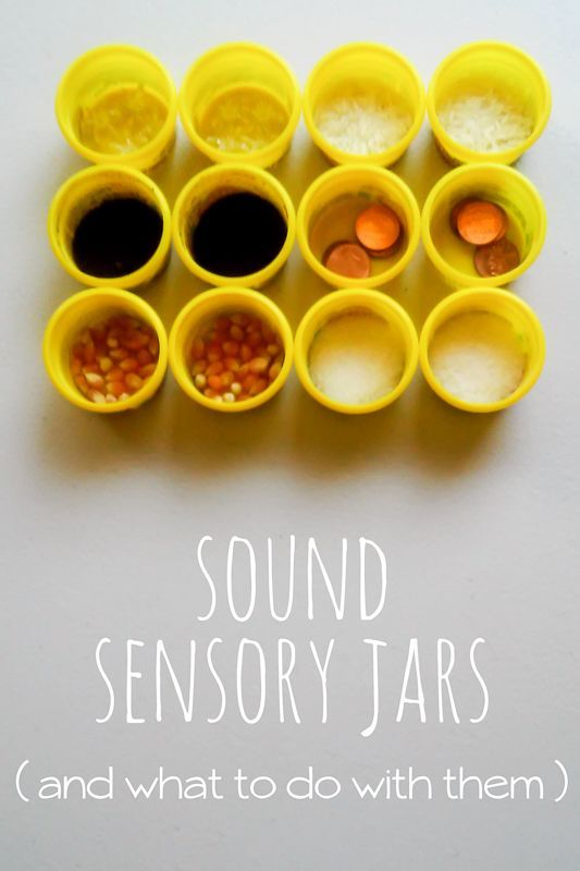 Make sound sensory jars -- and things to do with them - for preschoolers 5 senses activities.