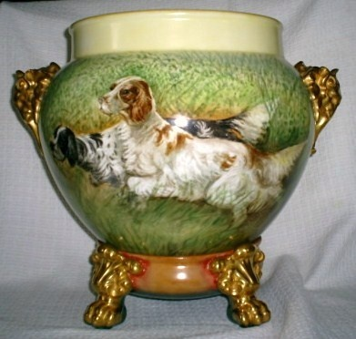 Limoges Hp Jardiniere Hunting Dogs Roses Elephant Head
