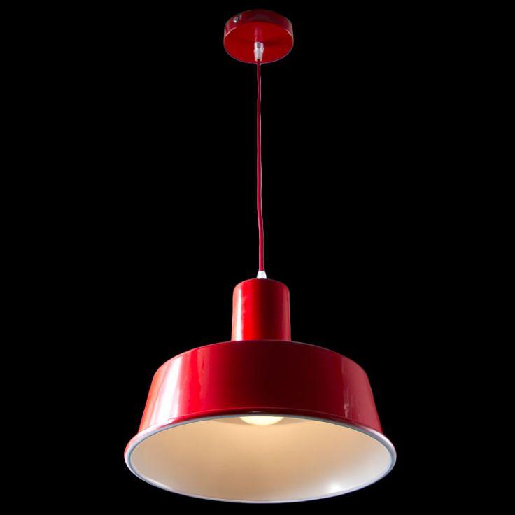 Lampara de techo Campana Metálica Roja Datium. Ideal para la iluminación de salones y establecimientos, en especial barras de restaurante, bares de diseño, mostradores de tiendas o discotecas. www.luzdeco.es