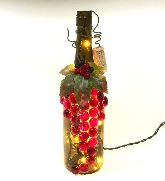 Red and Green Rustic Upcycled Wine Bottle Light, Night Light, Bottle Lamp, Grapes Design, Wine Decor