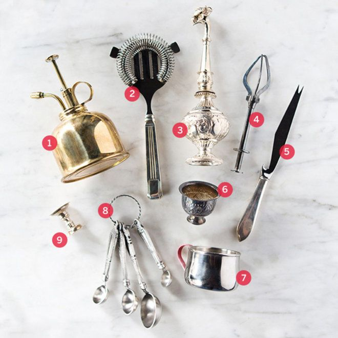 Anu Apte's favorite cocktail tools include a Tiffany Hawthorne strainer and a silver flower.