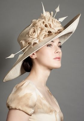 Rachel Trevor Morgan Millinery - Natural sidesweep picture hat with grazia flowers and arrow quills