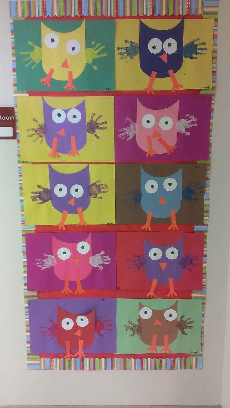 Owl craft made into a quilt.  Would be a great first week of school activity!!!