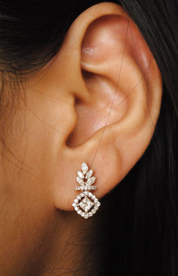 SALE 10% OFF Small Diamond Earrings. 0.45 Ct by AbhikaJewels