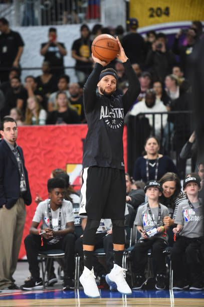 Stephen Curry of team Stephen participates in the 2018 NBA All Star Practice as part of 2018 AllStar Weekend at Verizon Up Arena at LACC on February...