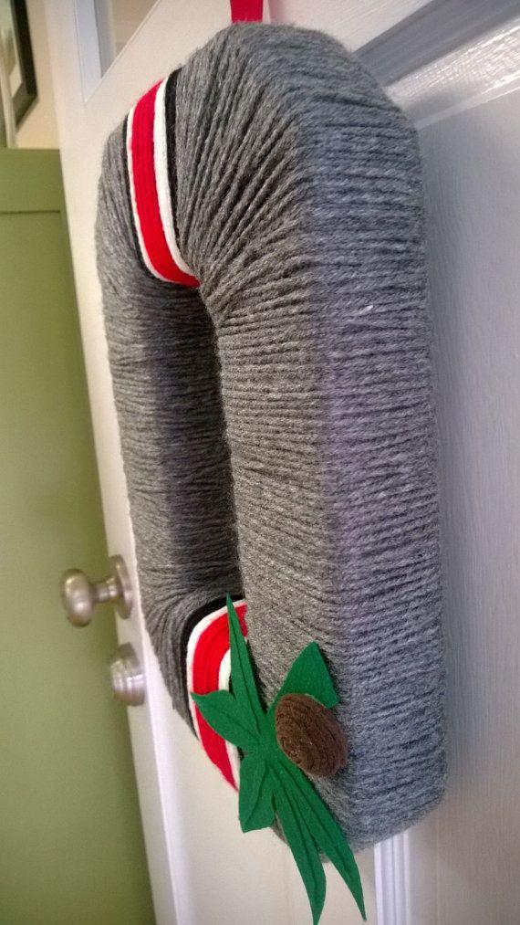 OSU Scarlet and Grey Helmet Block O Yarn by just4theloveofit