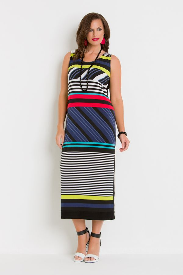 7715 Licorice Dress - This fun, bright plus size dress is great for those summer days next to the pool. Features thick straps and a straight fit. The print should create a slimming look and feel.