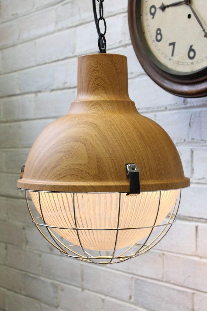 Industrial Scandinavian Pendant - Wood top finish
