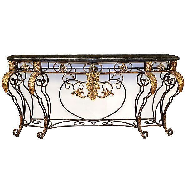Console Table in IRON Gold Hand leafed Mediterranean Style New Free shipping #Mediterranean #rt