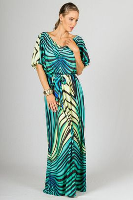 Chloe Maxi Dress - Green Graphic by Paper Scissors Frock