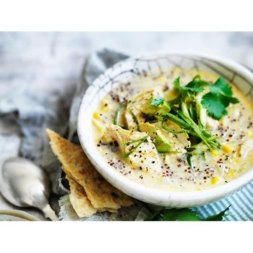 Roast corn and quinoa chowder recipe - By Australian Women's Weekly, Quinoa is one of only a handful of vegetarian ingredients that on their own contain all nine essential amino acids, making it a perfect meat substitute. Veg it up! By leaving the chicken out of the guacamole.