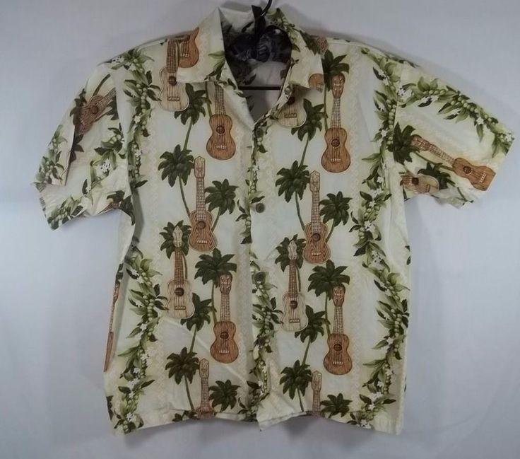 Boys Hawaiian Shirt Ukulele Palm Tree Size 12 Made In Hawaii M D Fashion Vintage #MDFashion #Everyday
