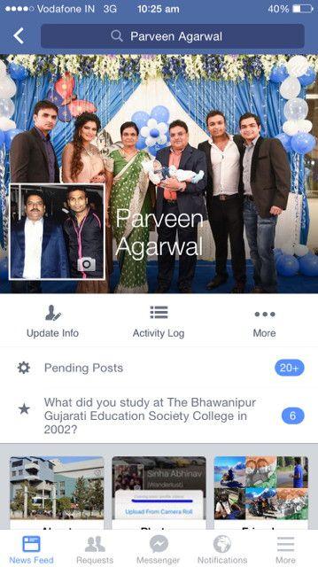 Brother Parveen Agarwal Facebook Screenshot, sent to us by brother Parveen Agarwal