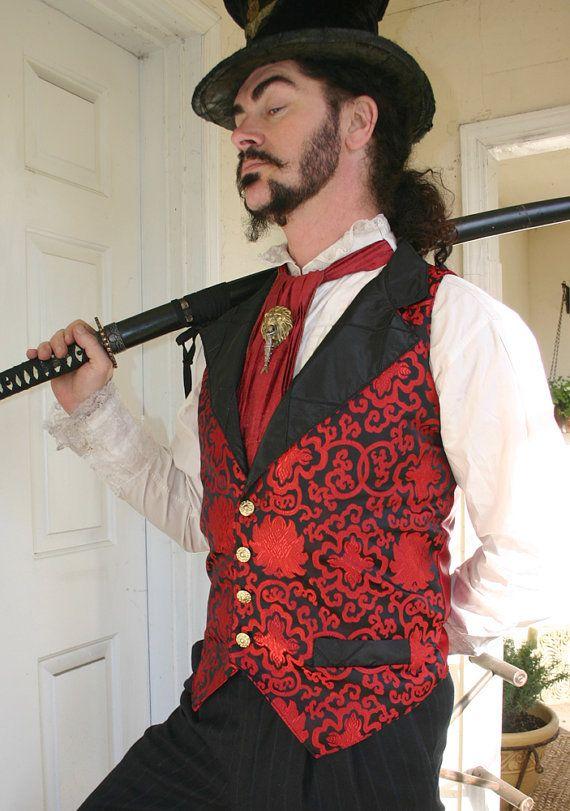 Red and Black Aster Shimmer Brocade Steampunk Victorian Lapeled Gentlemen's Vest