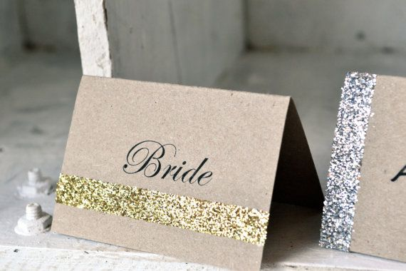Glitter wedding place cards/name tags/escort by LaPommeEtLaPipe, $1.25
