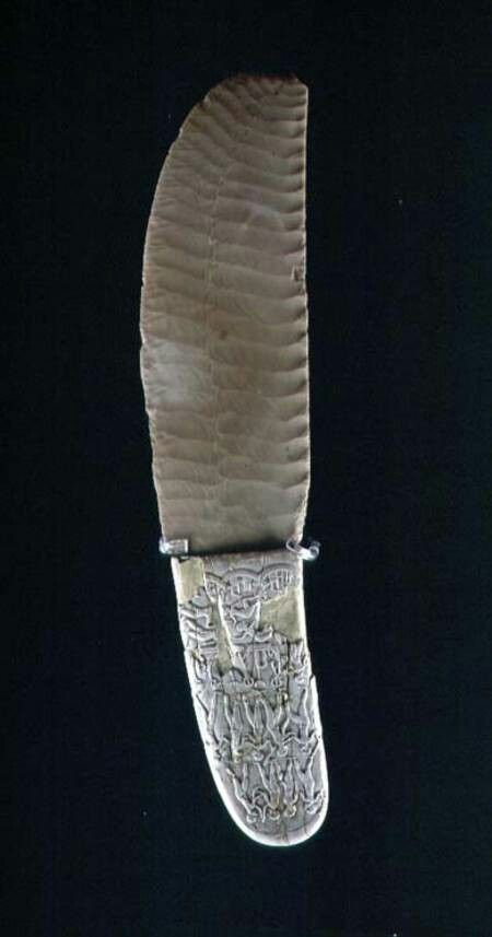 KNIFE CARVED WITH BATTLE SCENES, FROM GEBEL EL ARAK - PREDYNASTIC PERIOD EGYPTIAN